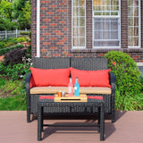 2 PC Rattan Loveseat Sofa Table Furniture Bistro Set Outdoor Wicker Patio Garden - cloudmountainproducts