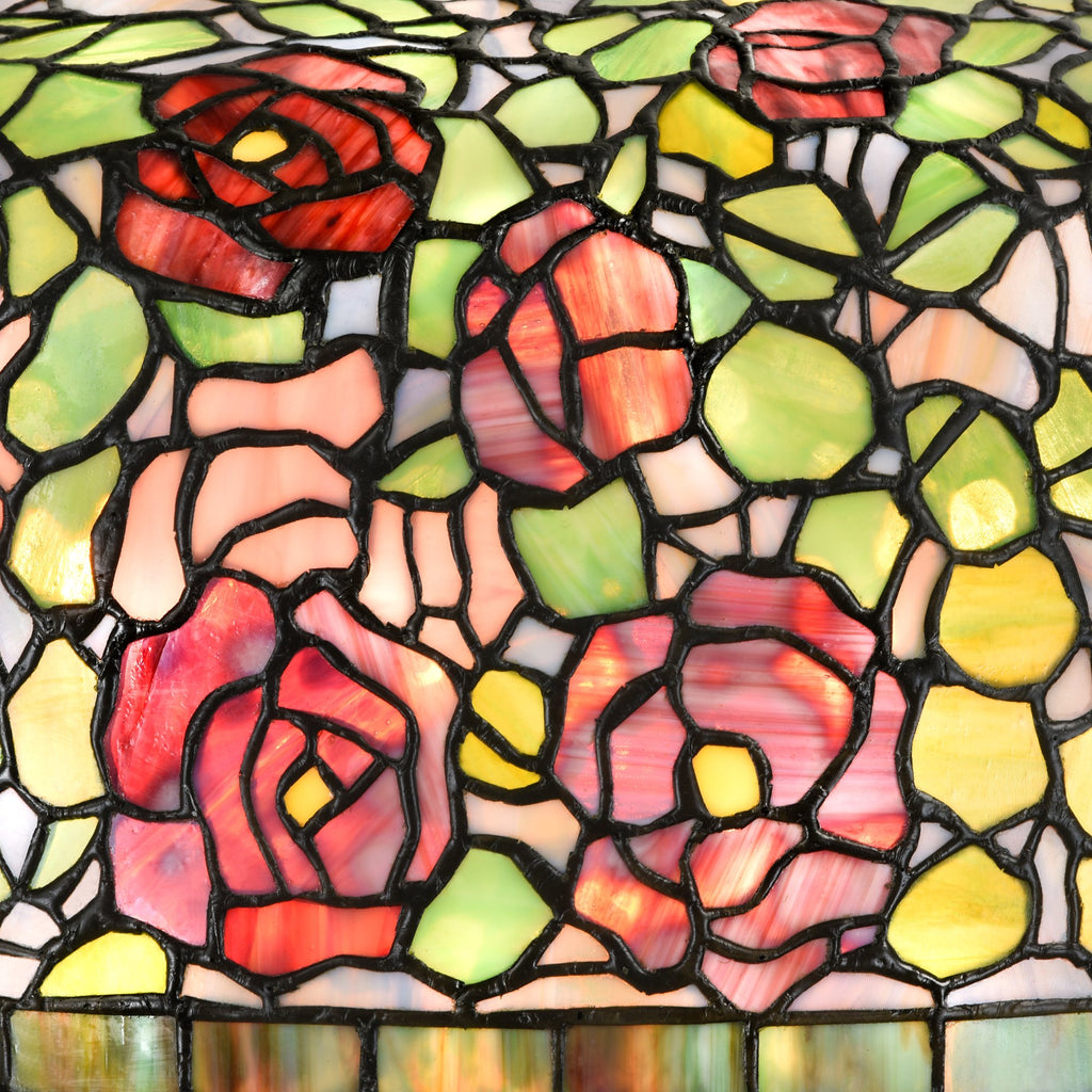 Tiffany Style Table Lamp Brass Base Victorian Rose Jeweled Desk Stained Glass Home Decor Lighting