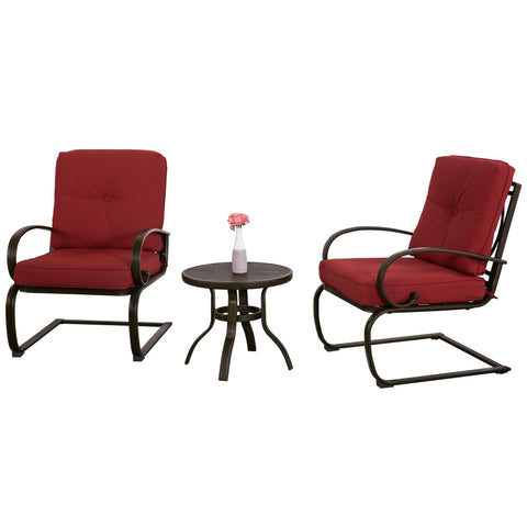 Outdoor 3PC Patio Furniture Bistro Garden Set Coffee Table Chair Cushioned Seat - cloudmountainproducts