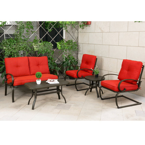 Patio 5 PC Bistro Garden Set Cushion Outdoor Furniture Wrought Iron Cushion Set - cloudmountainproducts