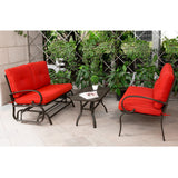 3PC Outdoor Furniture Garden Patio Wrought Iron Conversation Set Chairs w/ Table - cloudmountainproducts