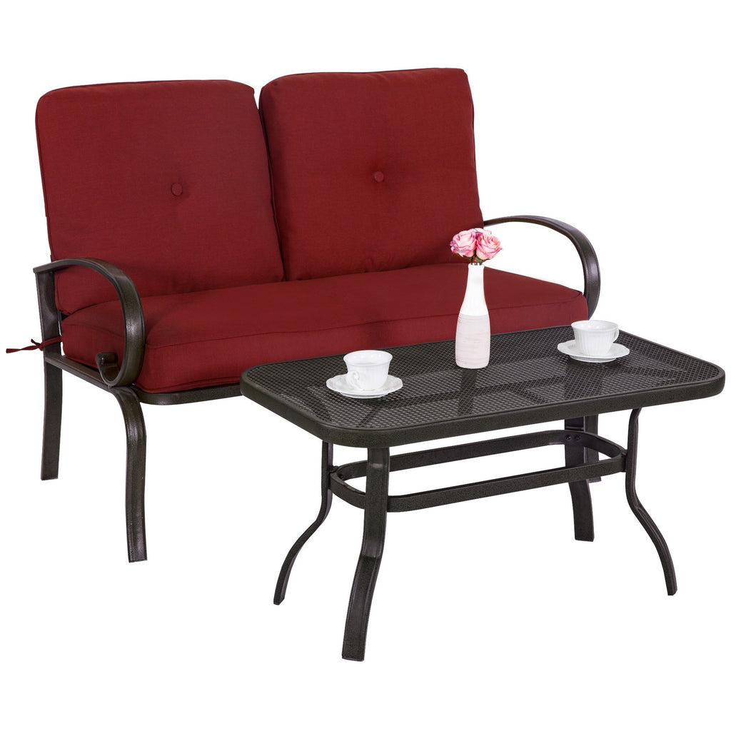 Outdoor Bistro Set Garden Patio Furniture Cafe Table Loveseat Chair Wrought Iron - cloudmountainproducts