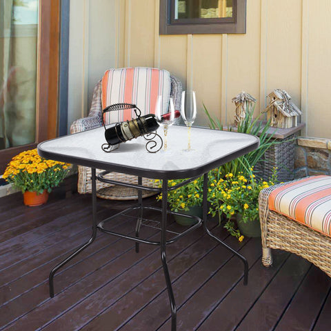 "32""  x 32""  Tempered Glass Top Umbrella Stand Patio Square Outdoor Dining Table"