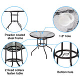 32 inches  Tempered Glass Top Umbrella Stand Table Patio Round Outdoor Dining Table - cloudmountainproducts