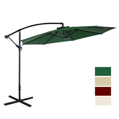 Outdoor 10 Ft Beach Garden Umbrella UV Resistant Tilt and Crank Patio Umbrella - cloudmountainproducts