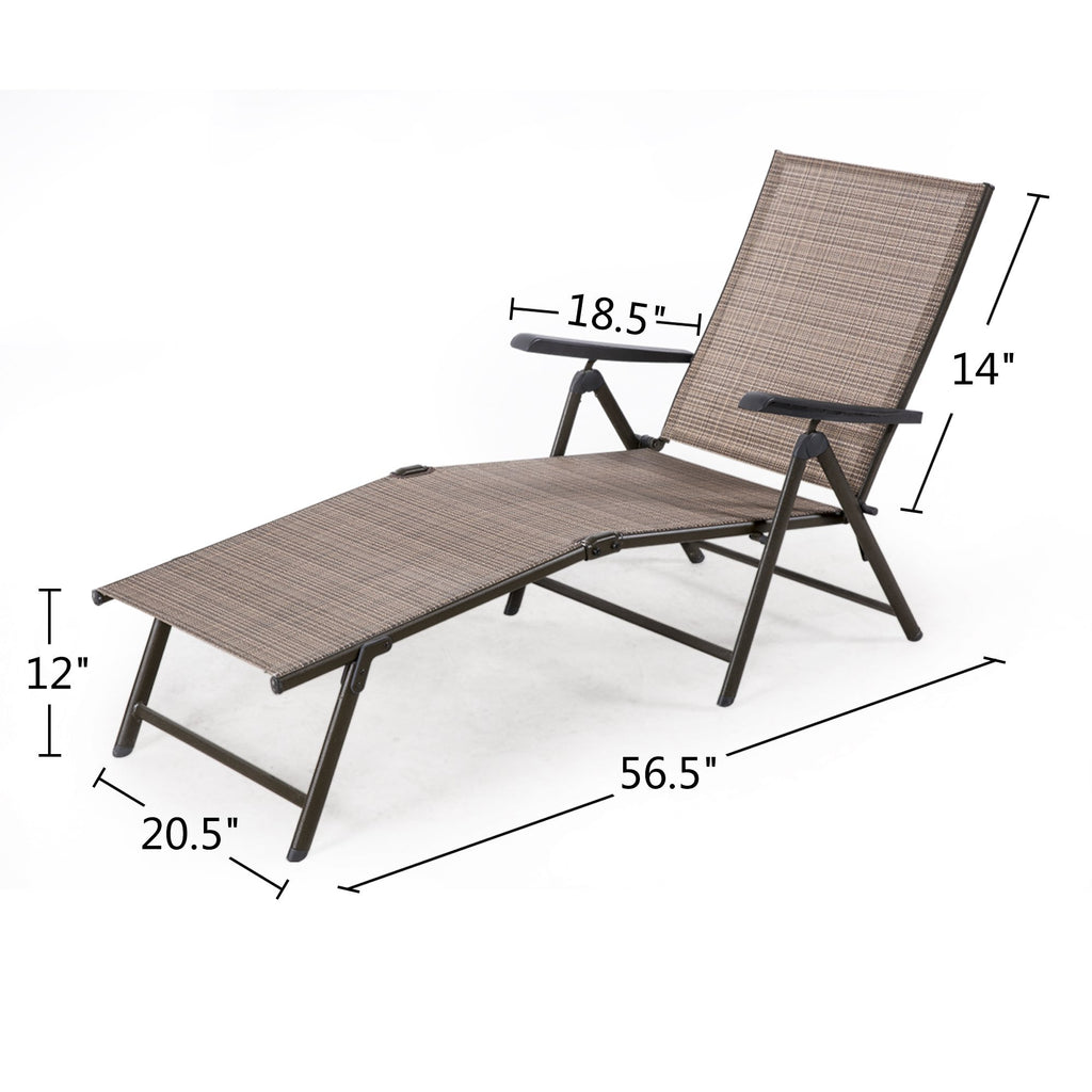 2 Pack Outdoor Foldable Recliner Pool Chaise Lounge Chair Adjustable
