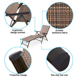 2 Pack Outdoor Foldable Recliner Pool Chaise Lounge Chair Adjustable Patio Tan - cloudmountainproducts