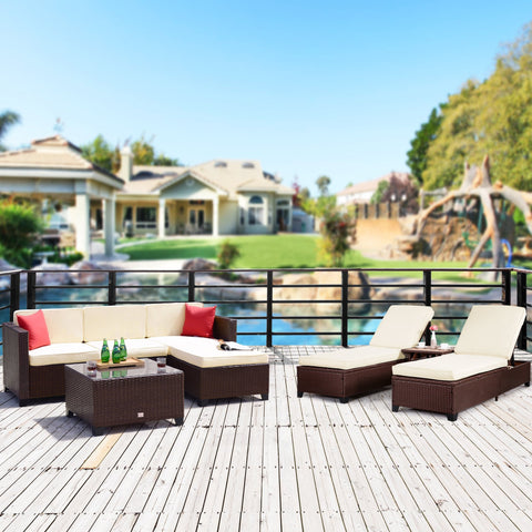 8 PC PE Rattan Wicker Patio Furniture Set Sofa with Lounge Chairs Sectional Set