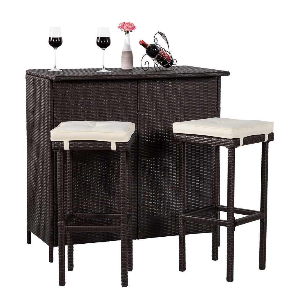 3 PC Wicker Patio Outdoor Bar Rattan Table & 2 Stools Barstool Furniture Set - cloudmountainproducts