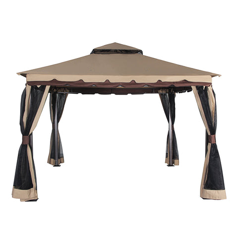 Outdoor Gazebo Canopy 130 inches  x 130 inches  Patio Double Roof Vented Mosquito Netting Sand - cloudmountainproducts