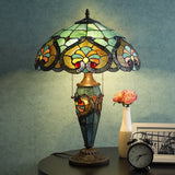 Tiffany Style Victorian Home Decor Desk And Table Lamp with Stained Blue Glass Shade