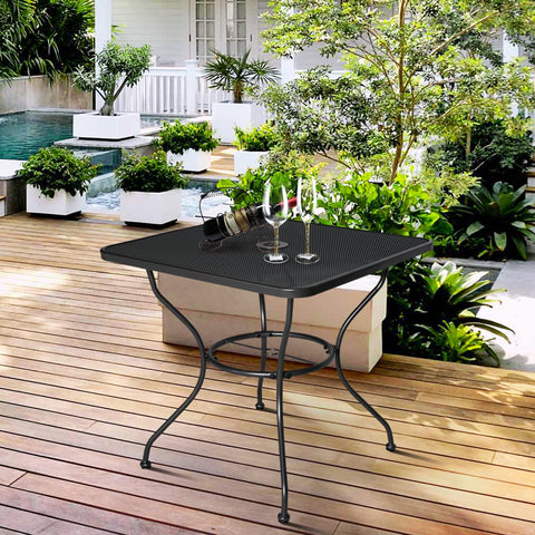 30 inches  x 30 inches  Patio Dining Table Square Powder-coated Steel Frame Top Umbrella Stand - cloudmountainproducts