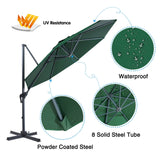 10 Ft Patio Umbrella Offset Umbrella Cantilever Hanging Umbrella Outdoor 8 Steels Ribs 100% Polyester With Cross Base, Hunter Green - cloudmountainproducts
