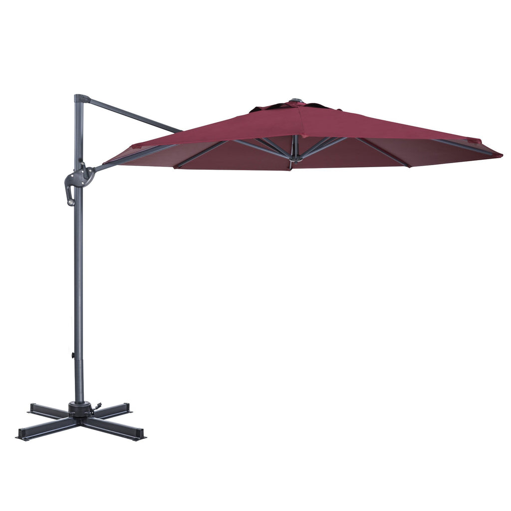 10 Ft Patio Umbrella Offset Umbrella Cantilever Hanging Umbrella Outdoor 8 Steels Ribs 100% Polyester With Cross Base, Burgundy - cloudmountainproducts
