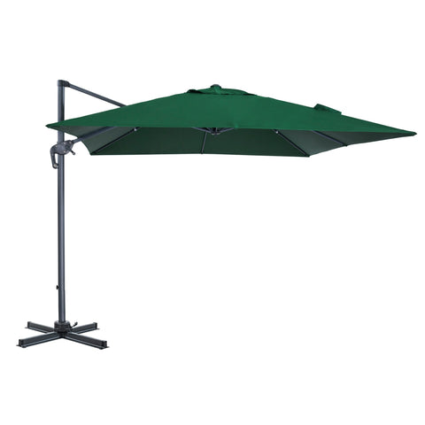 10 x 10 Ft Patio Umbrella Offset Umbrella Cantilever Hanging Umbrella Outdoor 8 Steels Ribs 100% Polyester With Cross Base, Hunter Green - cloudmountainproducts
