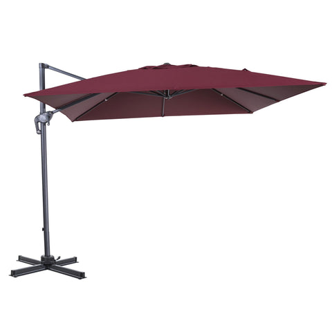 10 x 10 Ft Patio Umbrella Offset Umbrella Cantilever Hanging Umbrella Outdoor 8 Steels Ribs 100% Polyester With Cross Base, Burgundy - cloudmountainproducts