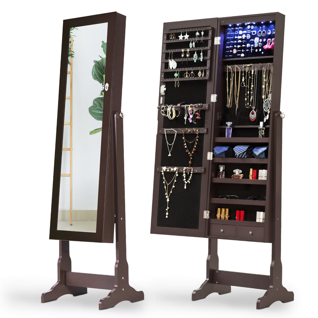 Mirrored Jewelry Cabinet Standing Tilt Armoire Storage Box Organizer by LaPorta Pearse Home