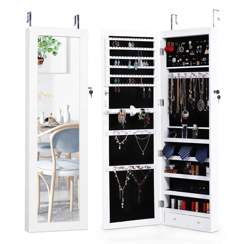 MIRRORED JEWELRY ARMOIRE – LOCKABLE DOOR-HANGING LED CABINET ORGANIZER by LAPORTA PEARSE HOME