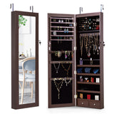 Hanging Mirrored Jewelry Cabinet Wall Door Mounted Armoire Storage Box by LaPorta Pearse Home