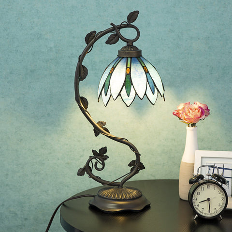 Tiffany Style Table Lamp Accent Flower Shape Stained Glass Home Desk Lamp - cloudmountainproducts