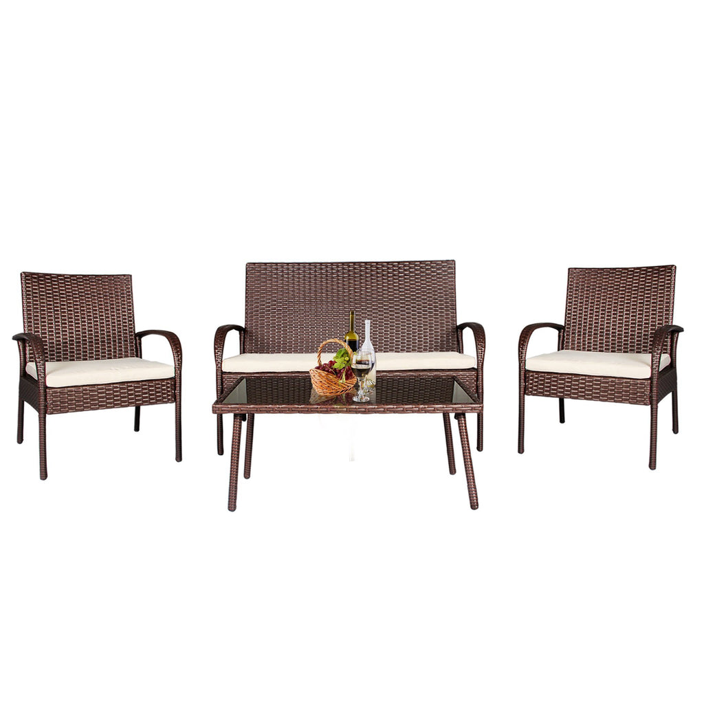 4 pc wicker rattan patio set outdoor detachable sofa glass table loveseat brown cloudmountainproducts