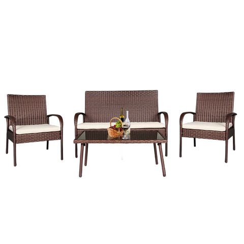 4 PC Wicker Rattan Patio Set Outdoor Detachable Sofa Glass Table Loveseat Brown - cloudmountainproducts