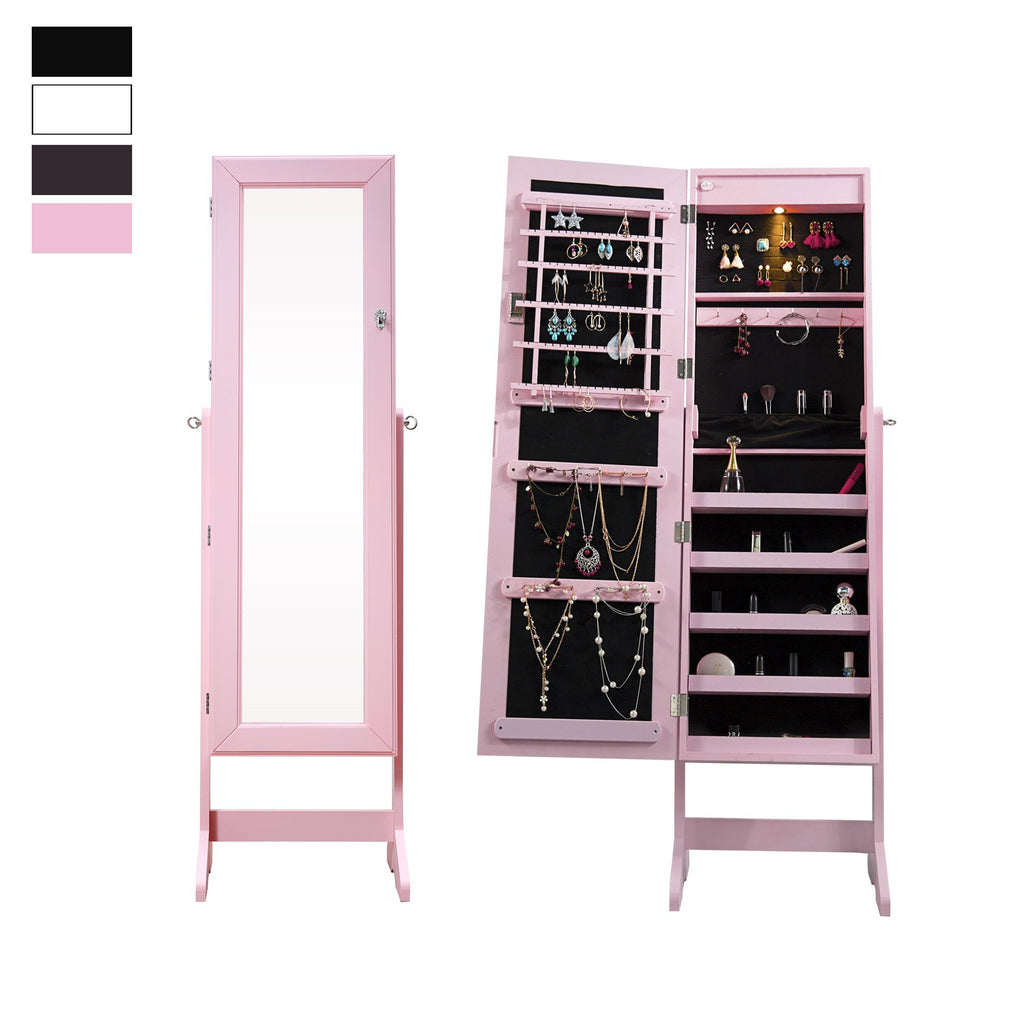 Lockable Mirrored Jewelry Cabinet Armoire Organizer Storage Box w/ Stand LED NEW - cloudmountainproducts