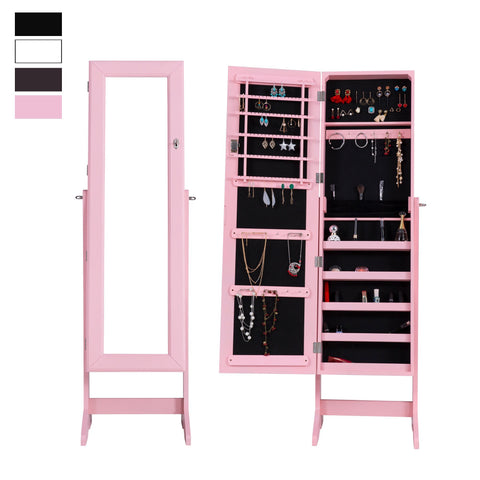 Lockable Mirrored Adjustable Jewelry Cabinet Armoire Organizer Storage Box Stand - cloudmountainproducts