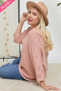 Blushing Crochet Sleeve Sweater