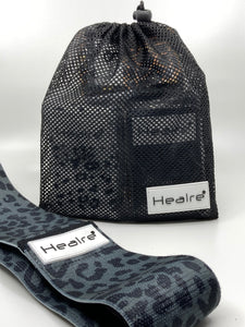 Healre exercise resistance bands in black leopard print