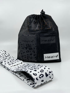 Healre exercise resistance bands in white leopard print
