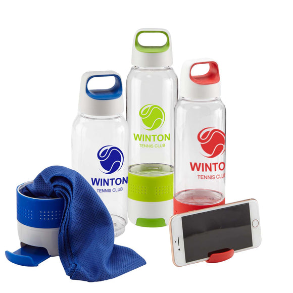 Water Bottle w/Cooling Towel and Phone Stand