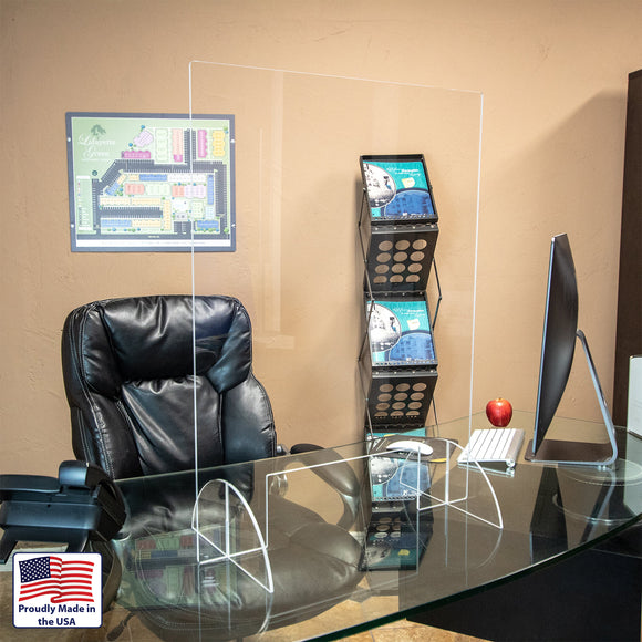 Acrylic Desk Guard with Half-Moon Base - Apartment Promotion