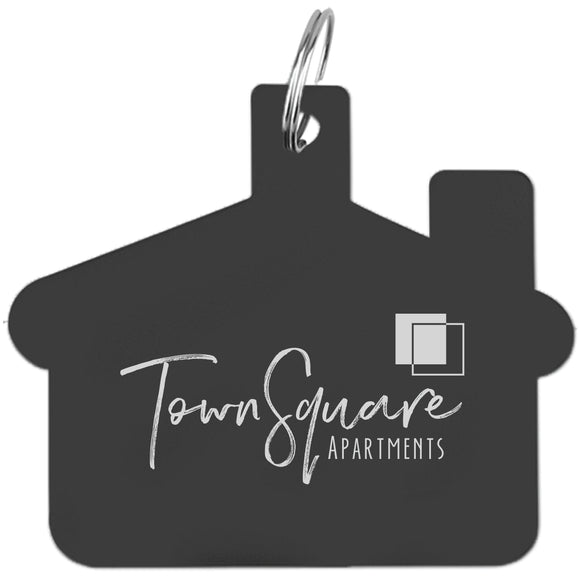 House-Shaped Laser Engraved Aluminum Key Tag - Apartment Promotion