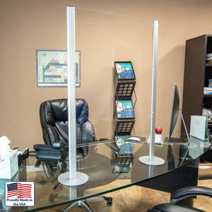 Modular Desk Guard - Aluminum Upright with Acrylic Shield - Apartment Promotion