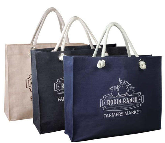 Jute/Cotton Tote Bag w/Magnetic Snap - Apartment Promotion
