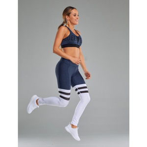 WOMEN'S LEGGINGS HIGH SOCK MELANGE DARK BLUE&WHITE