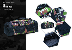 MULTIFUNCTIONAL BIG DUFFEL BAG CAMO&BLACK
