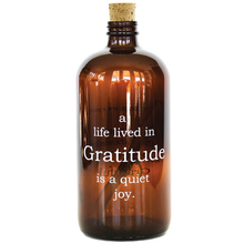 Load image into Gallery viewer, A Life Lived in Gratitude Amber Apothecary Jar