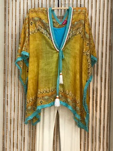 Vibrant Cotton Kaftan in Gold