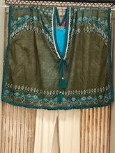 Load image into Gallery viewer, Cotton Kaftan in Olive with Blue and White Trim