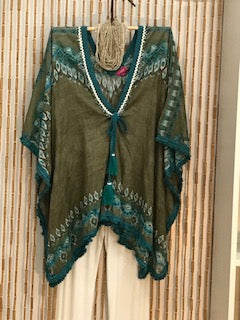 Cotton Kaftan in Olive with Blue and White Trim