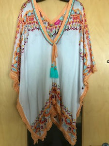 Cotton Kaftan in White with vibrant print