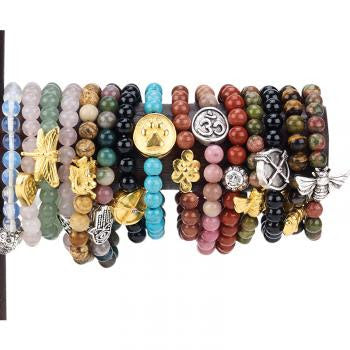 Gemstone Bracelets Enhanced with Mindfulness Charm