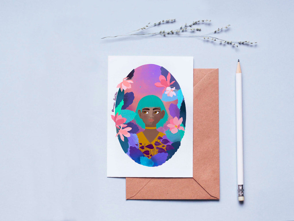 Floral Girl Card Magnolia