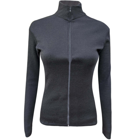a black base layer zip neck with a full zip made of alpaca wool