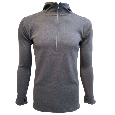 Alpaca wool mid layer for men with half zip and hoodie in black