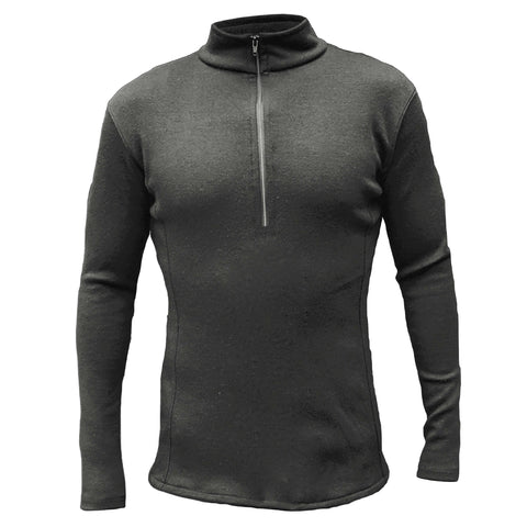 Alpaca wool mid layer for men with half zip and neck in black