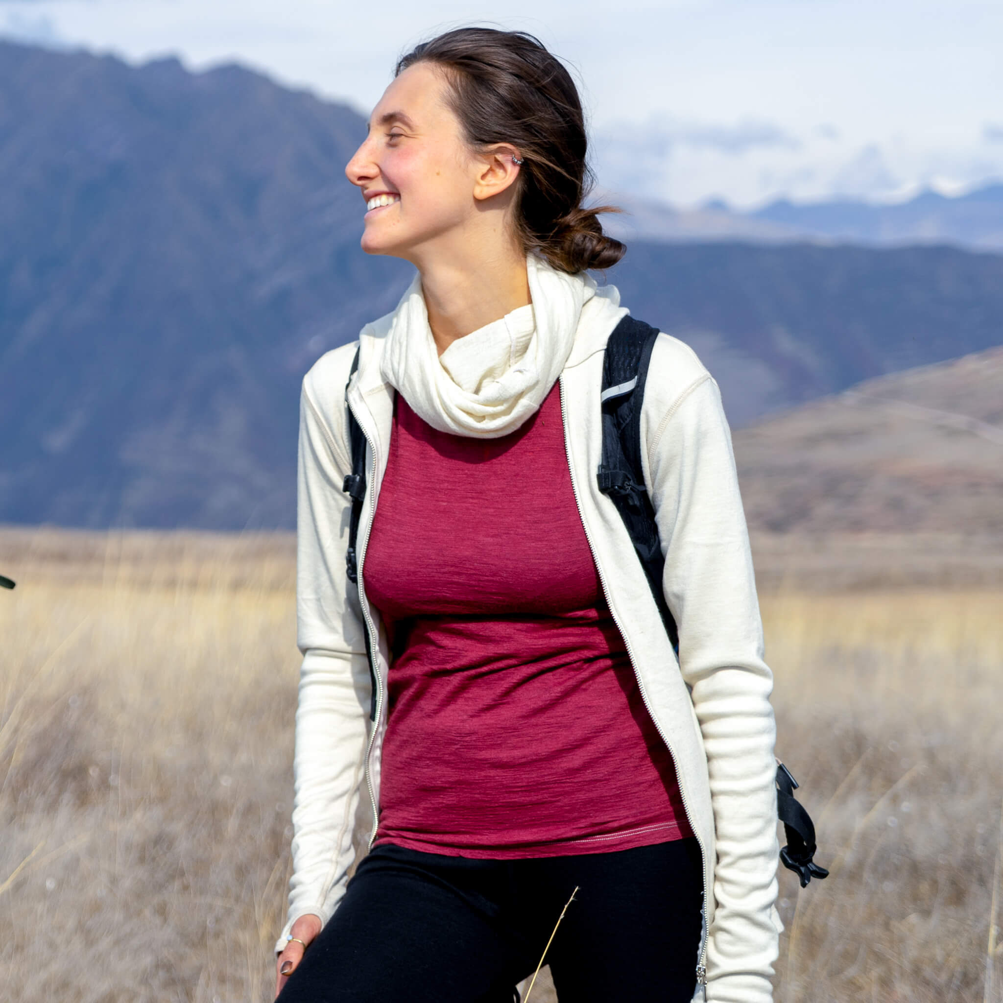 Woman Hiking in Naturally Dyed Alpaca Wool Outdoor Gear