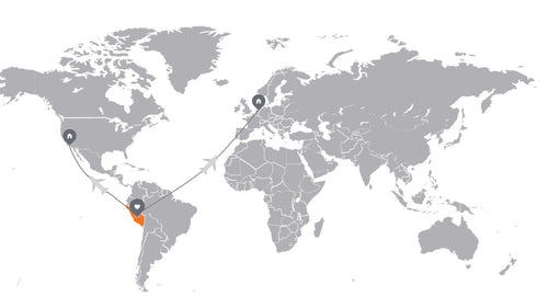 Map showing production of alpaca outdoor apparel in Peru and shipped abroad